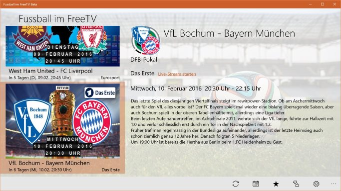 Screenshot Fussball App